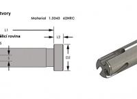 4) Sada: vytrhávač vtokového kůlu + ořezávací kolík